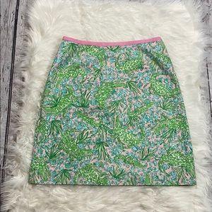 Vtg Lilly Pulitzer See ya Later Alligator Skirt 6